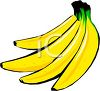 picture of a bunch of bright yellow bananas on a white background in a vector clip art illustration clipart