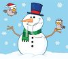 picture of a happy smiling snowman on a snowy day with one bird flying and another bird standing on the snowman's stick hand in a vector clip art illustration clipart