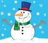 picture of a smiling dressed up snowman on a snowy day in a vector clip art illustration clipart