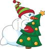 picture of a snowman with a winter hat, mittens, and a carrot nose hugging a decorated Christmas tree in a vector clip art illustration clipart