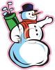 picture of a snowman with a top hat, scarf and carrot nose holding a  set of golf clubs in a vector clip art illustration clipart