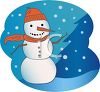 picture of a snowman on a windy, snowy, blustery day in a vector clip art illustration clipart