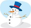 picture of  a snowman with a top hat, stick arms, carrot nose, and button eyes and mouth in a vector clip art illustration clipart