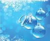 picture of  snowflakes and blue hanging Christmas Ornaments on a blue background in a vector clip art illustration clipart