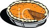 pictures of a fresh pumpkin pie with one missing piece in a vector clip art illustration clipart