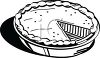 picture of a fresh pumpkin pie in black and white in a vector clip art illustration clipart