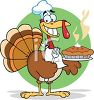 picture of a cartoon turkey wearing a chef's hat and a napkin around it's neck, holding a fork and fresh hot pumpking pie on a platter clipart