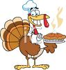 picture of a cartoon turkey holding a fork, wearing a knapkin around his neck, and holding a fresh hot pumpkin pie topped with whip cream in a vector clip art illustration clipart