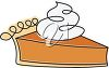 picture of a fresh piece of pumpkin pie topped with whip cream in a vector clip art illustration clipart