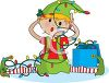 picture of one of santa's elves sitting on the ground with his legs out trying to untangle a string of Christmas lights in a vector clip art illustration clipart