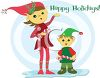 picture of A girl and a little boy Elf Holding Candy canes in a vector clip art illustration clipart