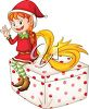 picture of a girl elf sitting on top of a wrapped gift and waving in a vector clip art illustration clipart