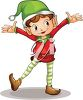 picture of a boy elf standing in a happy stance in a vector clip art illustration clipart