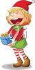 picture of a girl elf with a giant smile holding a Christmas gift in a vector clip art illustration clipart