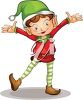 picture of  a boy elf in a happy stance in a vector clip art illustration clipart