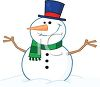 picture of a snowman dressed up sitting in a pile of snow in a vector clip art illustration clipart