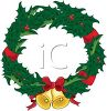 picture of a christmas wreath with red ribbon, berries, and golden bells in a vector clip art illustration clipart