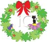 picture of a holiday wreath with candy canes, stars, birds, flowers, and a kitten in a vector clip art illustration clipart