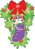 picture of a holiday wreath with candy canes, a red bow, and a racoon inside of a purple stocking in a vector clip art illustration clipart