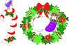 picture of a candy cane with a bird on top and a wreath with candy canes, a bow and a raccoon inside of a stocking clipart
