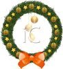picture of a Christmas Wreath with gold stars and ball wiht a red bow in a vector clip art illustration clipart