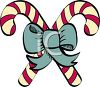 picture of two candy canes with a blue bow in a vector clip art illustration clipart