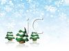 picture of evergreen trees on a snowy winter day covered in snow in a vector clip art illustration clipart