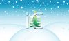 picture of a christmas tree on top of a snow hill on a snowy day in a vector clip art illustration clipart