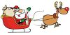 picture of santa and rudolph pulling  his sled in a vector clip art illustration clipart