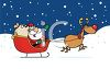 picture of Santa in his sled with rudolph pulling on a snowy day in a vector clip art illustration clipart