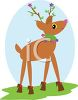 picture of a reindeer with leaves and stars on his antlers wearing a holiday neck wring and slippers on his feet in a vector clip art illustration clipart