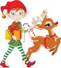 picture of one of santas elves carrying a gift and a candy cane walking with rudolph in a vector clip art illustration clipart