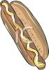 picture of a hot dog on a bun with mustard in a vector clip art illustration clipart