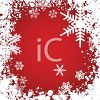 Picture of snowflakes on a red background in a vector clip art illustration clipart