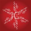 picture of a large fancy snowflake drawing on a red background in a vector clip art illustration clipart