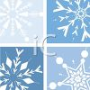 picture of different shaped snowflakes separated in four separate corners in a vector clip art illustration clipart