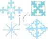 picture of four separate different shaped snowflakes on a vector clip art illustration clipart