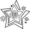 picture of snowflake in black and white in a vector clip art illustration clipart