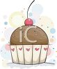 A delicious looking cupcake with a cherry on top. clipart