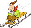 picture of a man with his arms crossed holding a clip board riding down a snowbank on his sled in a vector clip art illustration clipart
