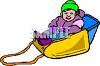 picture of a young girl sitting in a sled in a vector clip art illustration clipart