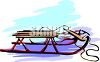 picture of a snow sled in a vector clip art illustration clipart