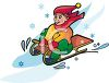 picture of a boy sledding down a snowy hill in a vector clip art illustration clipart
