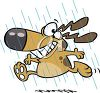 picture of a happy dog  frolickly running in the rain in a vector clip art illustration clipart