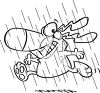 picture in black and white of a happy smiling dog running in the rain in a vector clip art illustration clipart