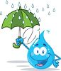 picture of a happy smiling cartoon raindrop holding an umbrella in a vector clip art illustratin clipart