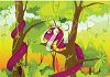picture of a purple cartoon snake wrapped around the trees in a vector clip art illustration clipart