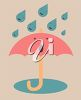 picture of singing raindrops and a singing umbrella in a vector clip art illustration clipart