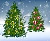 picture of decorated christmas trees on a snowy background in a vector clip art illustration clipart