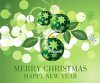 picture of christmas balls On a green snowy Merry Christmas and Happy New Year in a vector clip art illustration clipart